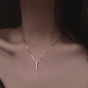 Jewelry - NEW 925 Sterling Silver Simple Strip Gold Necklace